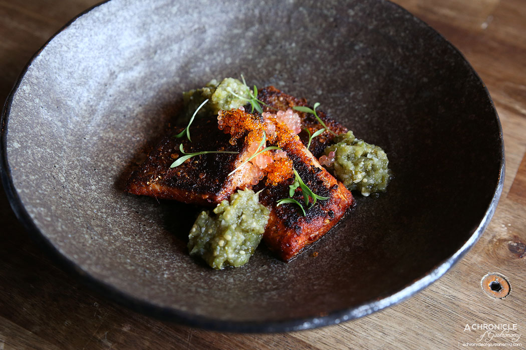 Pablo Honey - Grilled Rainbow Trout - green finger lime, roasted tomatillo verde ($17)