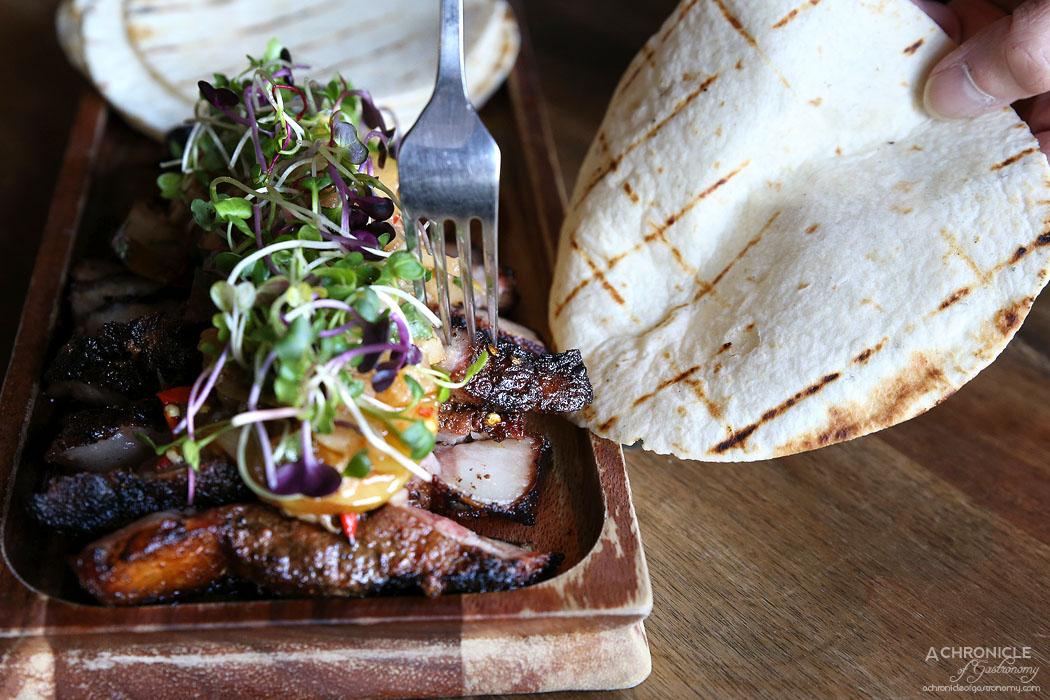 Pablo Honey - Chargrilled Mapuche Pork Scotch - roasted pear & chilli salsa, tortilla ($45)