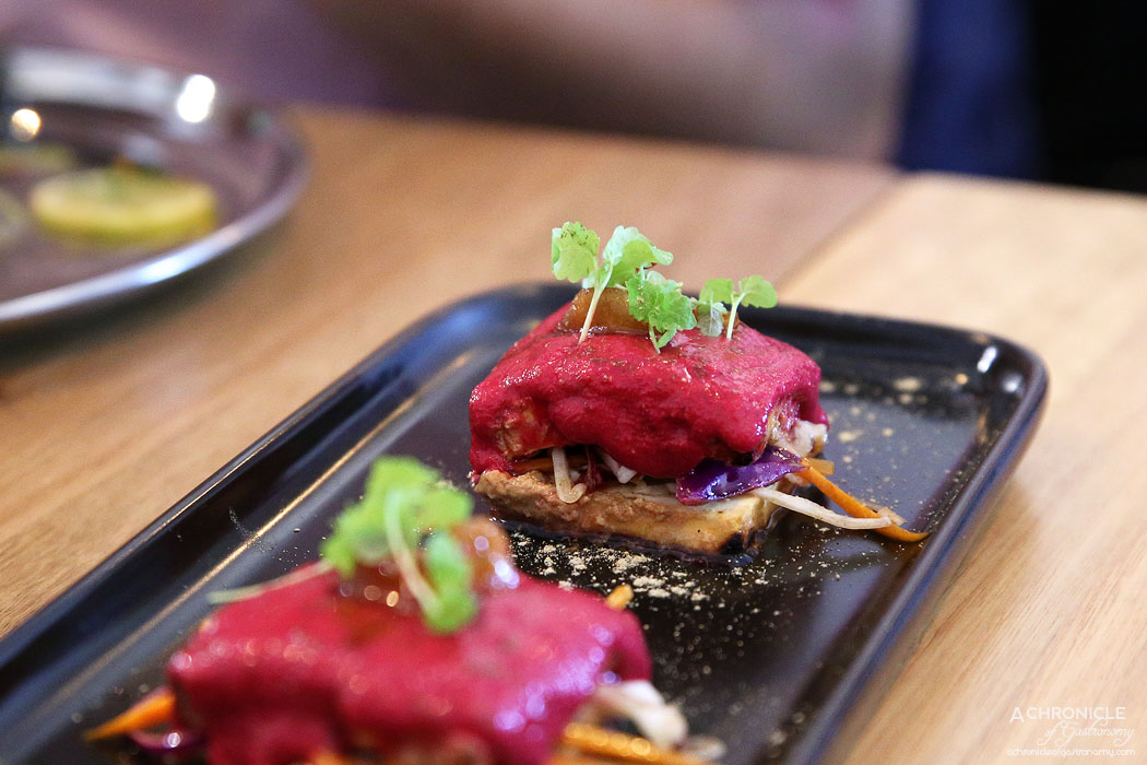 Piquancy - Beetroot Paneer - Beetroot marinated curd cheese & vegetables charred in our tandoori oven ($23)