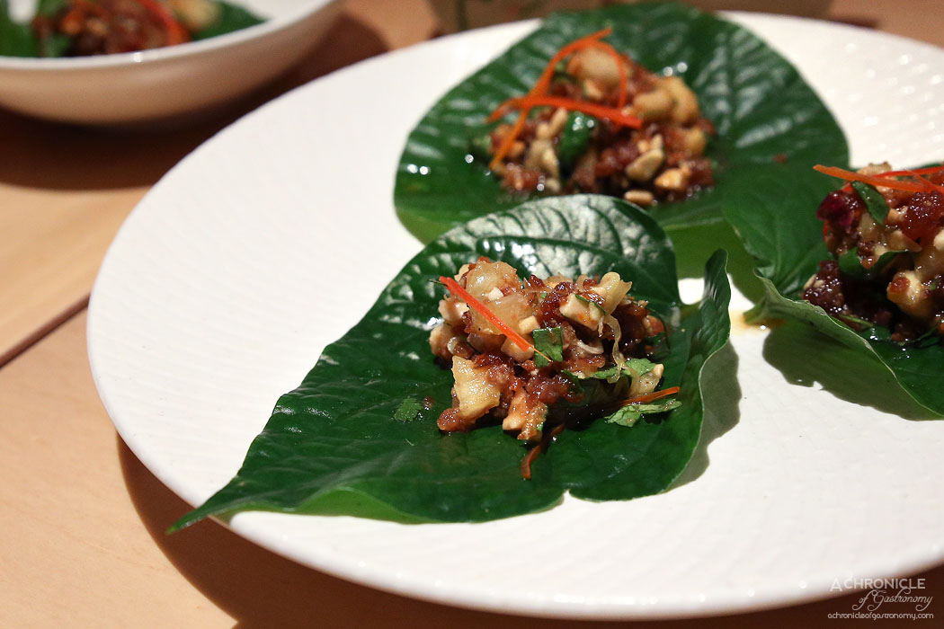 Tenpin - Betel leaf with sticky pork, prawn, pineapple and peanuts ($6.50 ea)