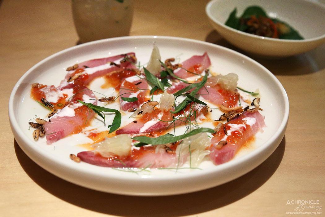 Tenpin - Kingfish sashimi with roast red pepper jaew, coconut cream, Vietnamese mint and puffed rice