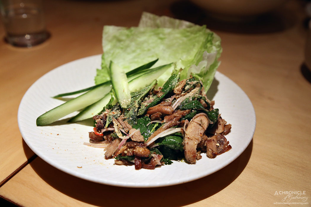 Tenpin - Roast duck larb with hot chilli, mint, lime, roast rice, cucumber and lettuce