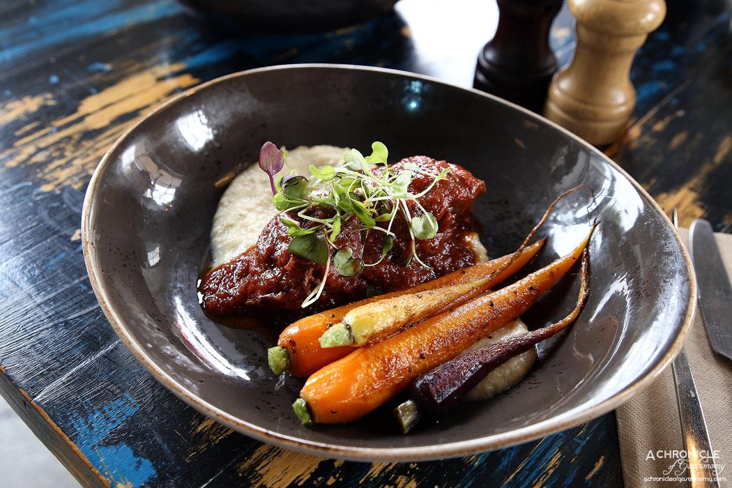Boot Factory - Slow Braised Beef Cheek with horseradish cauliflower puree and heirloom carrots ($22)