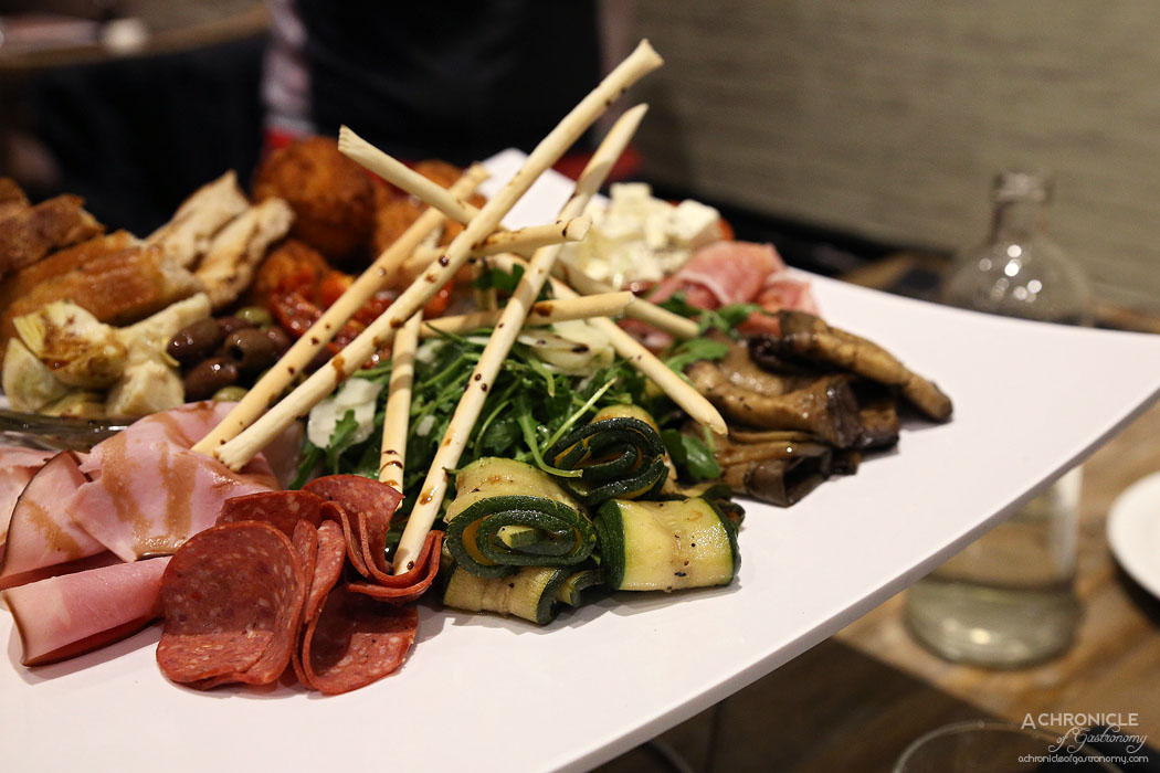 Rubicon - Antipasto Platter for 2 - Cured meats, marinated vegetables, arancini, olives, crispy cheese, homemade crusty bread ($28.50)