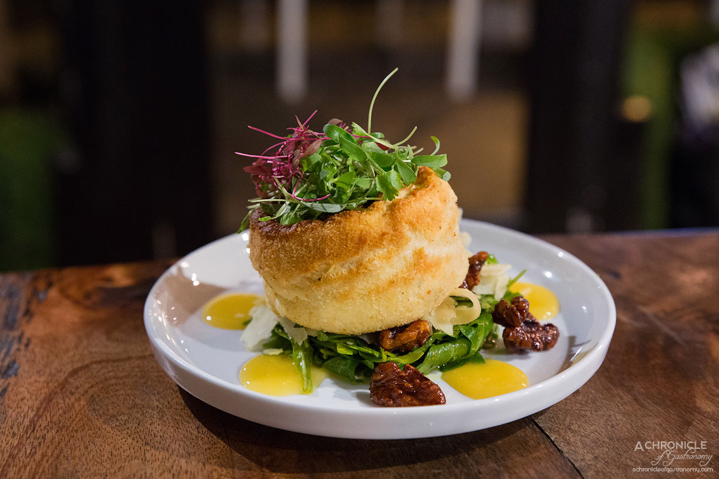 The Providore Swan Bay Farm - Twice-baked Tassie hot smoked salmon souffle, roquette, shaved parmesan, The Providore sweet and salty walnuts and lemon curd ($15)