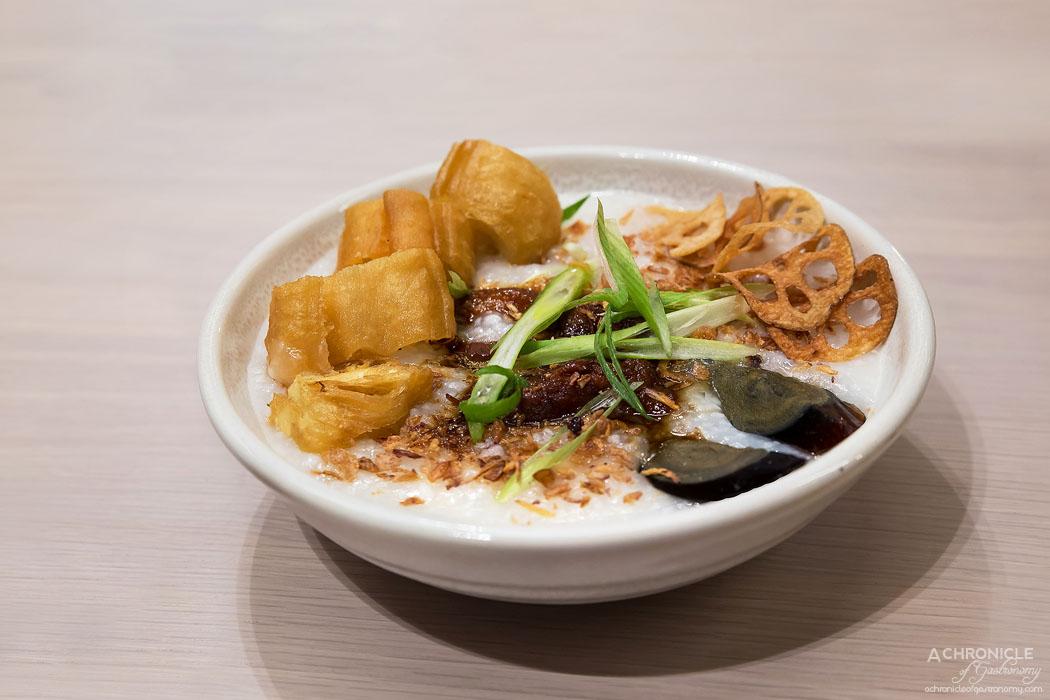Workshop Bros GW - Keep It 100 - Grannies Century egg congee, caramelised pork belly and doughnut sticks ($15.90)