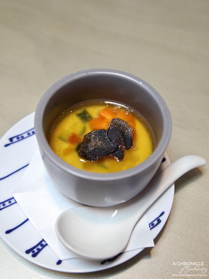 Aoki - Truffle soup. Carrot, zucchini, capsicum, egg, chicken