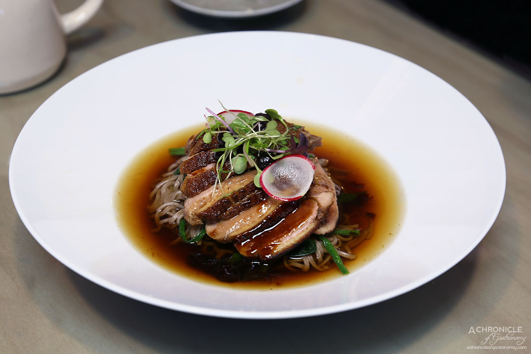 Aoki - Blueberry duck on soba with bonito broth ($27.90)