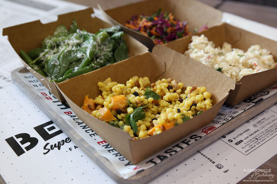 Ben's Supernatural - Pearl Cous Cous, butternut squash, pine nuts, parsley, coriander, tahini dressing, Cauliflower rice, coconut, chives, red onion, herbed yoghurt Green Bean - String beans, peas
