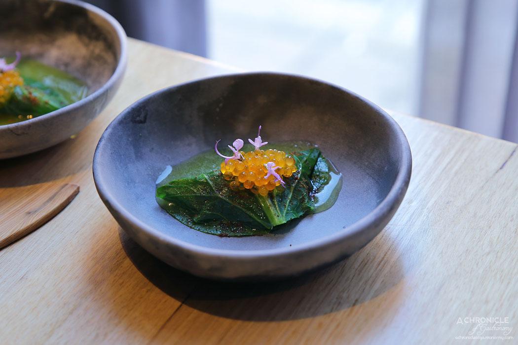 Igni - Slimy mackerel, mustard leaf, salmon roe, tomato something, cucumber and lemon juice