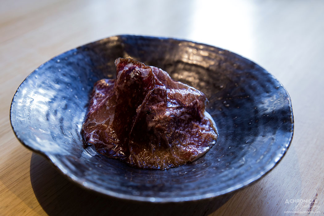 Igni - David Blackmore MS9+ wagyu bresaola, Jerusalem artichokes cooked for 24hrs in the fire