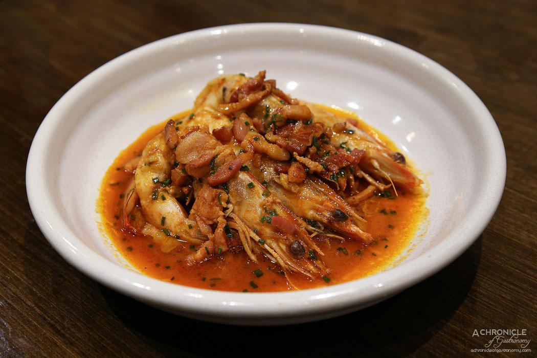 Imbue Food and Wine - King prawns, speck, cider, paprika ($28)