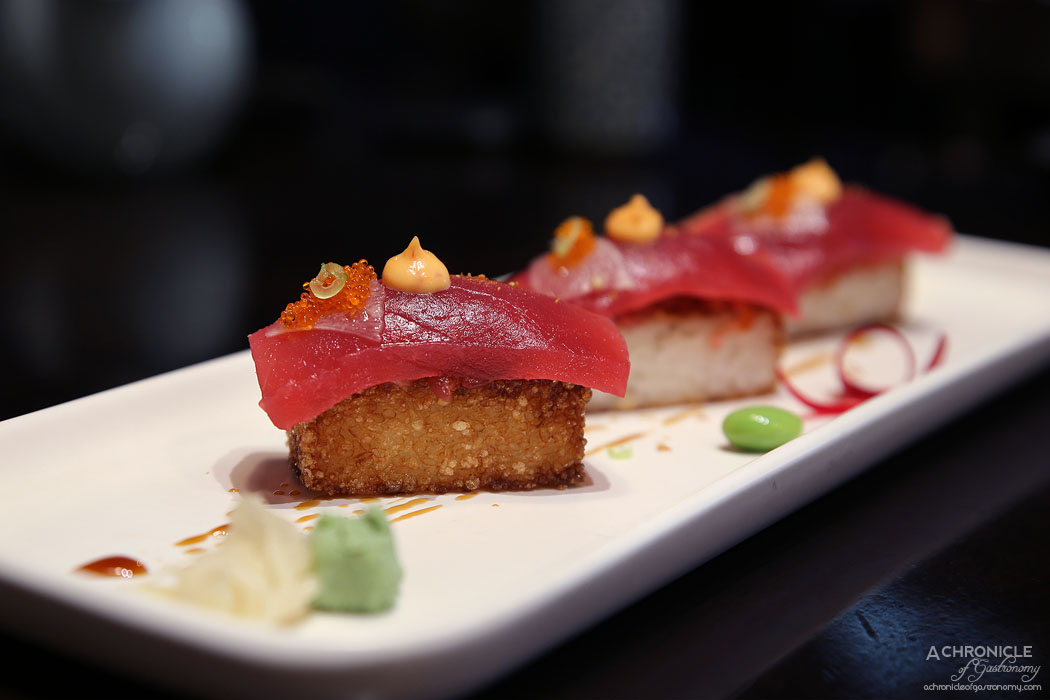 Machi - Crispy Tuna Nigiri - Tuna w snapper sauce on top of crispy sushi rice (3 for $16)