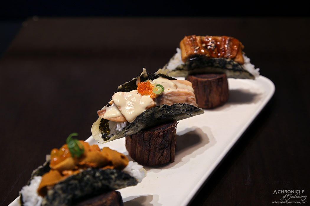 Machi - Machi Tacos - Kombu salmon ($7), BBQ Eel ($9), Uni ($14)