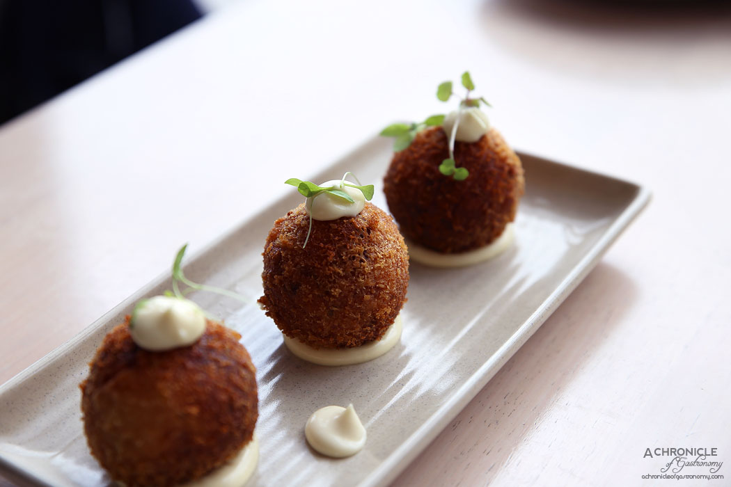 Mr Hobson - Smoked salmon croquettes - Crumbed potato, smoked salmon, chives, goat cheese, garlic aioli (3 for $12)
