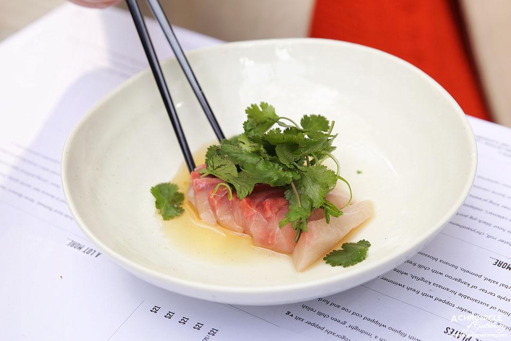 Rice Paper Sister - Sashimi of sustainable hiramasa kingfish, white soy, fermented rice vinegar and yuzu ($14)