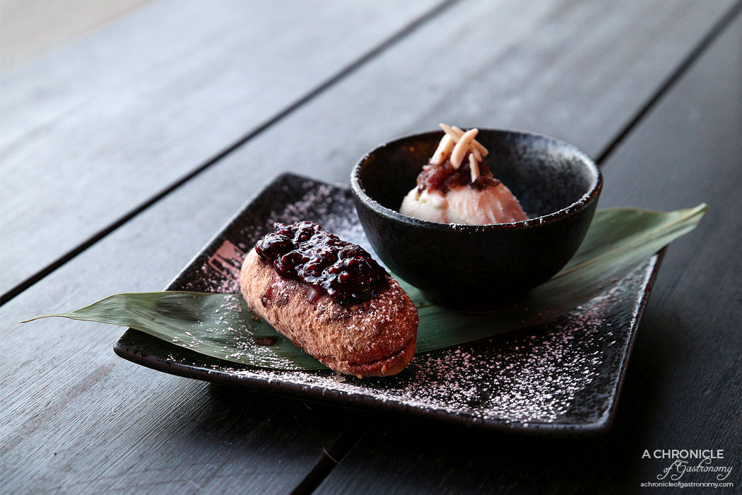 Bosozoku - Pinky Finger Deep-fried Ice Cream with Raspberry and Vanilla ($14)