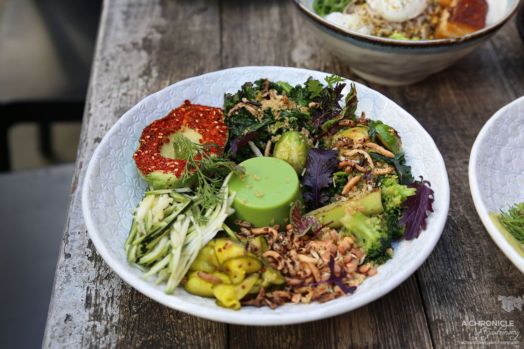 CH James - Vegan Green Bowl w spiced avocado, kale, puffed grains, zucchini, sprouts, pickled cucumber, and pea panna cotta ($18.50)