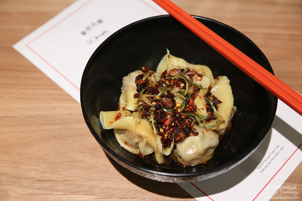 Ricky and Pinky - Sichuan pork dumpling, garlic chive and chilli oil