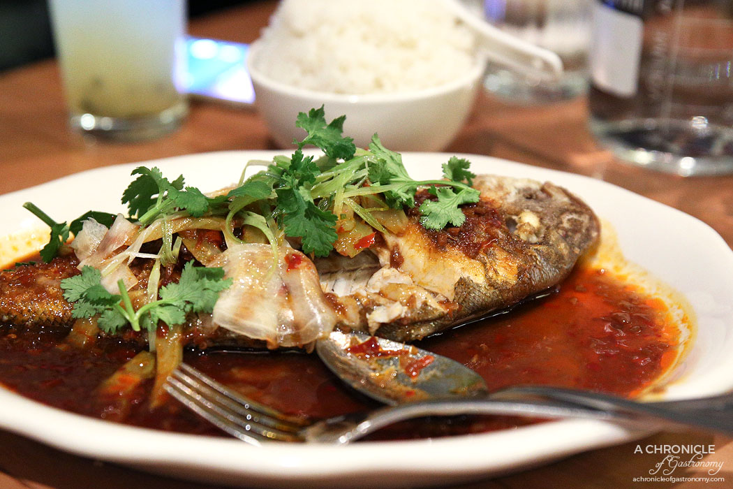 Ricky and Pinky - an-fried whole snapper, Gui Lin chilli sauce, pickled ginger and coriander