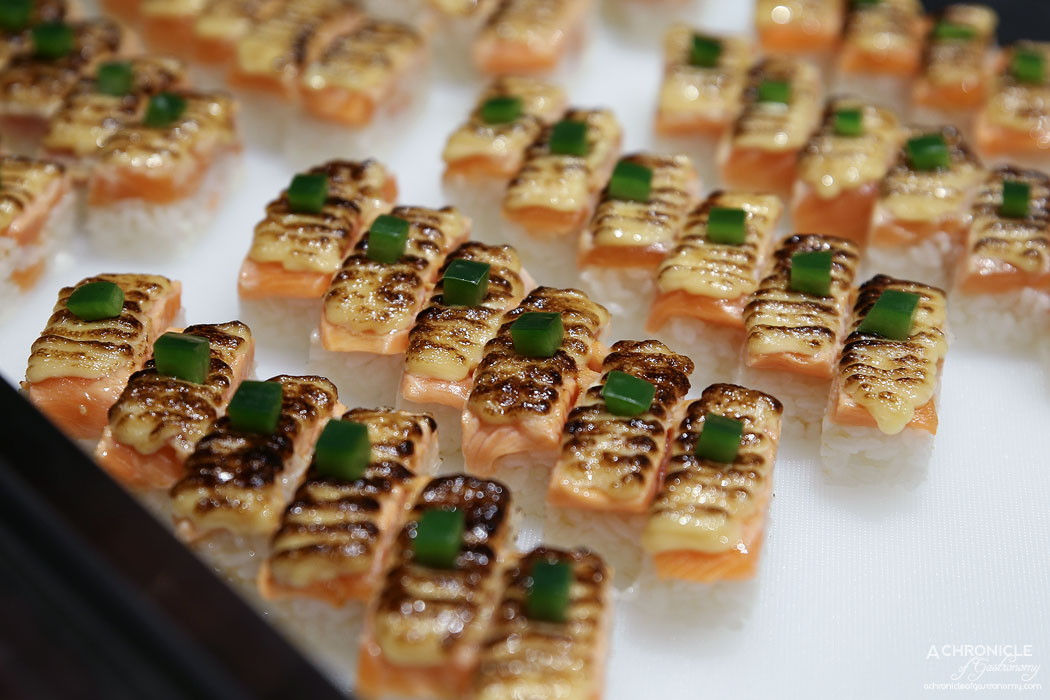 The Modern Eatery - Salmon Oshi - Pressed Salmon w Signature Aburi Sauce & Sweet Soy ($16)