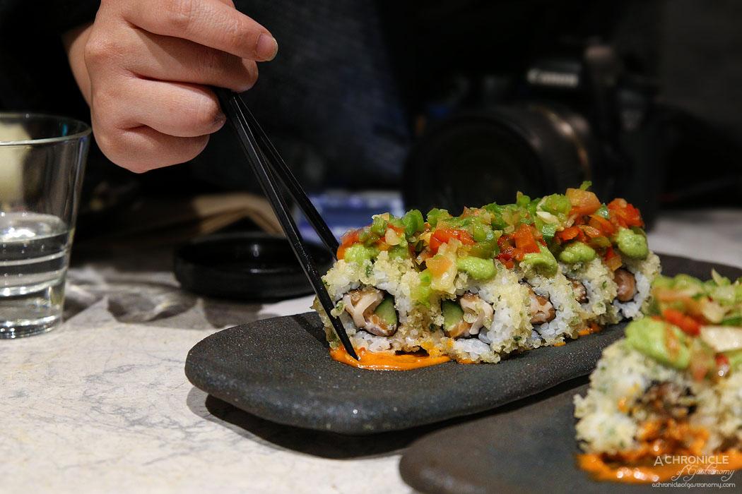 The Modern Eatery - Caribbean Treasure - Assorted sashimi, Japanese salsa, cucumber, tempura bits, avocado, spicy sauce ($18)