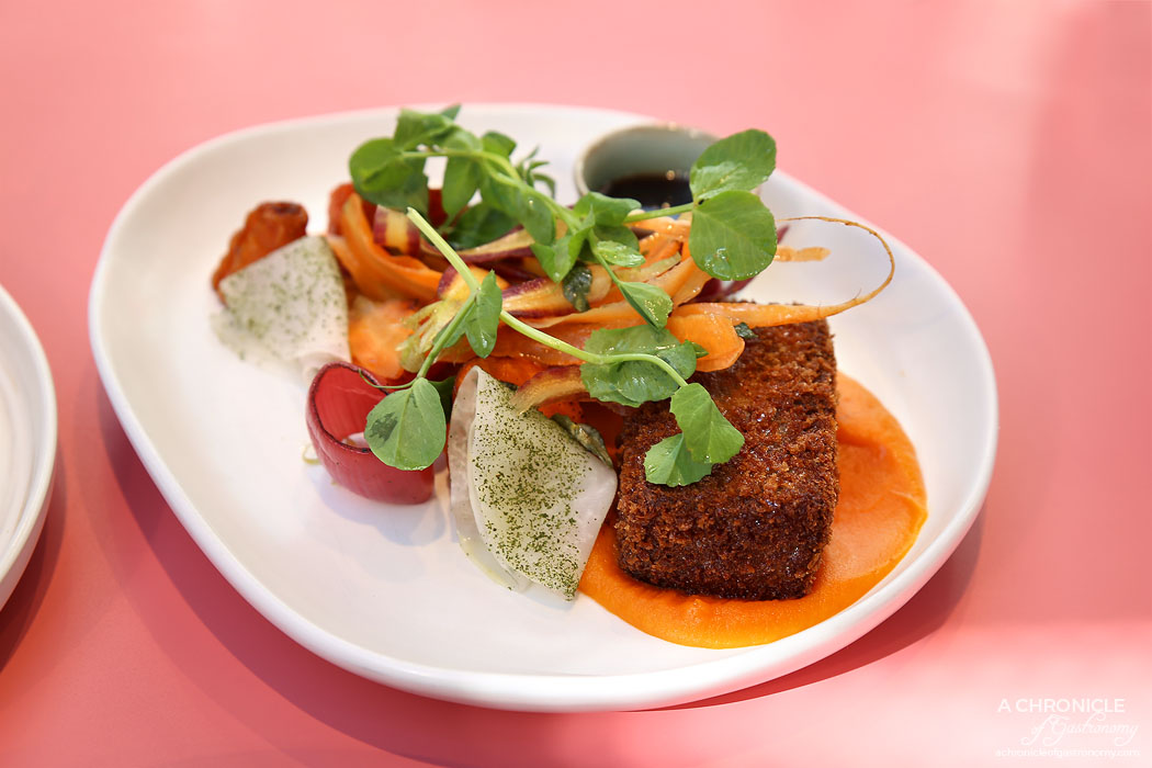 Au79 - 24 Hour Braised Lamb Croquettes with pickled kohlrabi, roasted root vegetables, pickled shallots, carrot and orange puree, shaved heirloom carrots and house jus ($21)