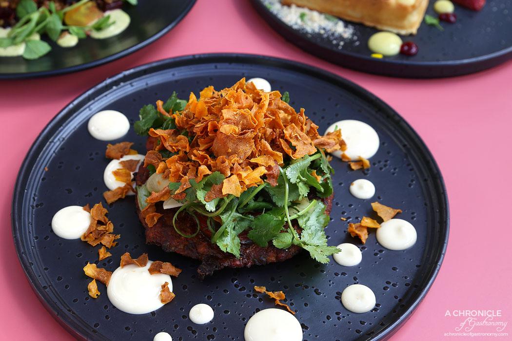 Au79 - Okonomiyaki - Japanese pancake with roasted sweet potato, yuzu mayo, herbed daikon salad and sweet potato crisps ($18)