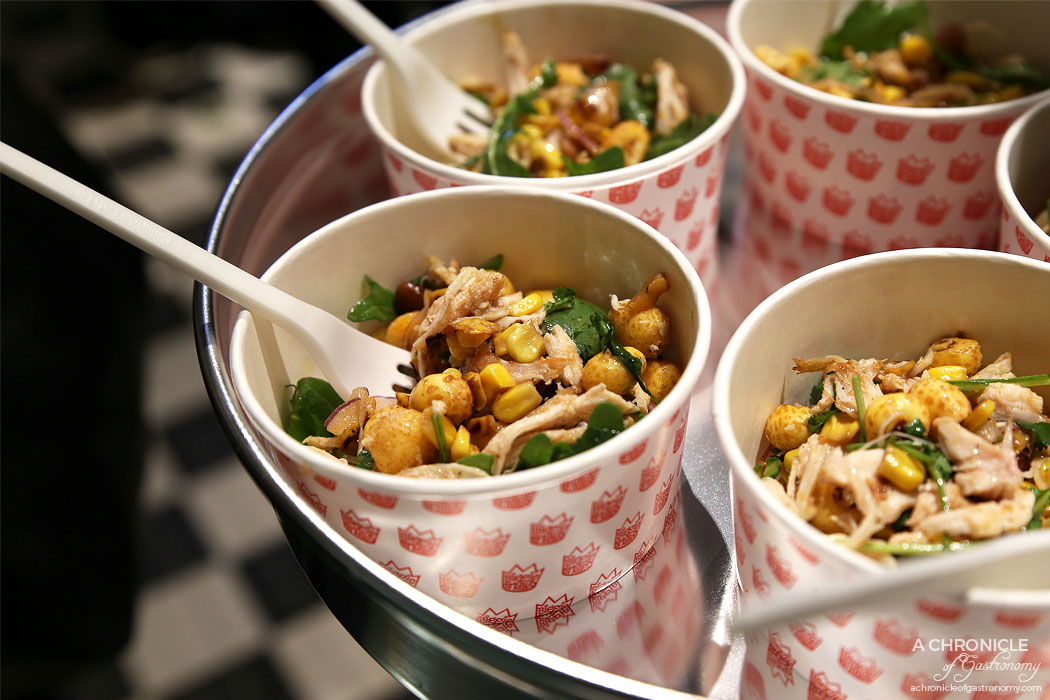 Biggie Smalls Windsor - Corn Row Salad with BBQ and puffed corn, rocket, herbs, smoked almonds, red onion, chicken