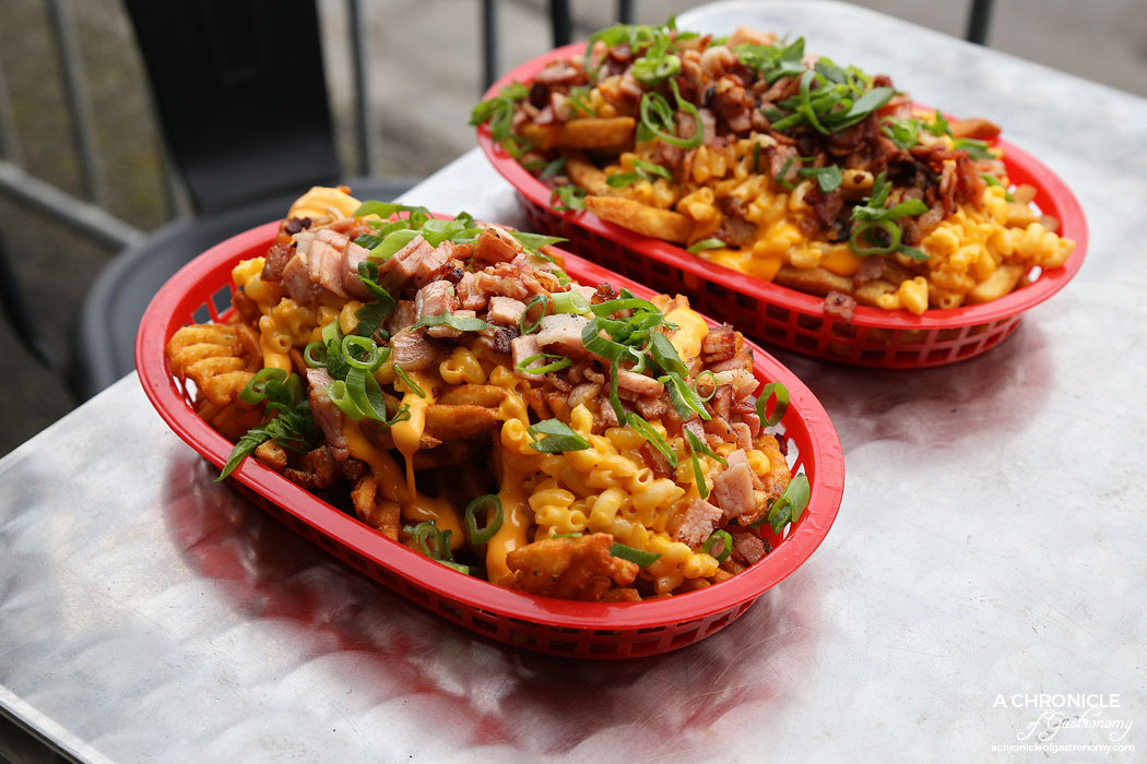Burger Kitchen - Mac n Cheese Loaded Waffle Fries - Melted cheese, Mac n Cheese, bacon ($9.90)