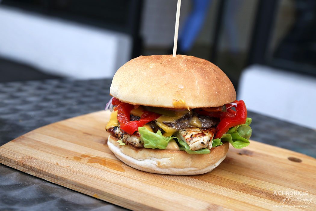 Burger Kitchen - Some Like It Hot - Beef, tomato, lettuce, onion, hot chilli sauce, cheese, jalapenos, smokey Chipotle sauce add chicken and red peppers ($9.50 + 3.50 + 1.50)