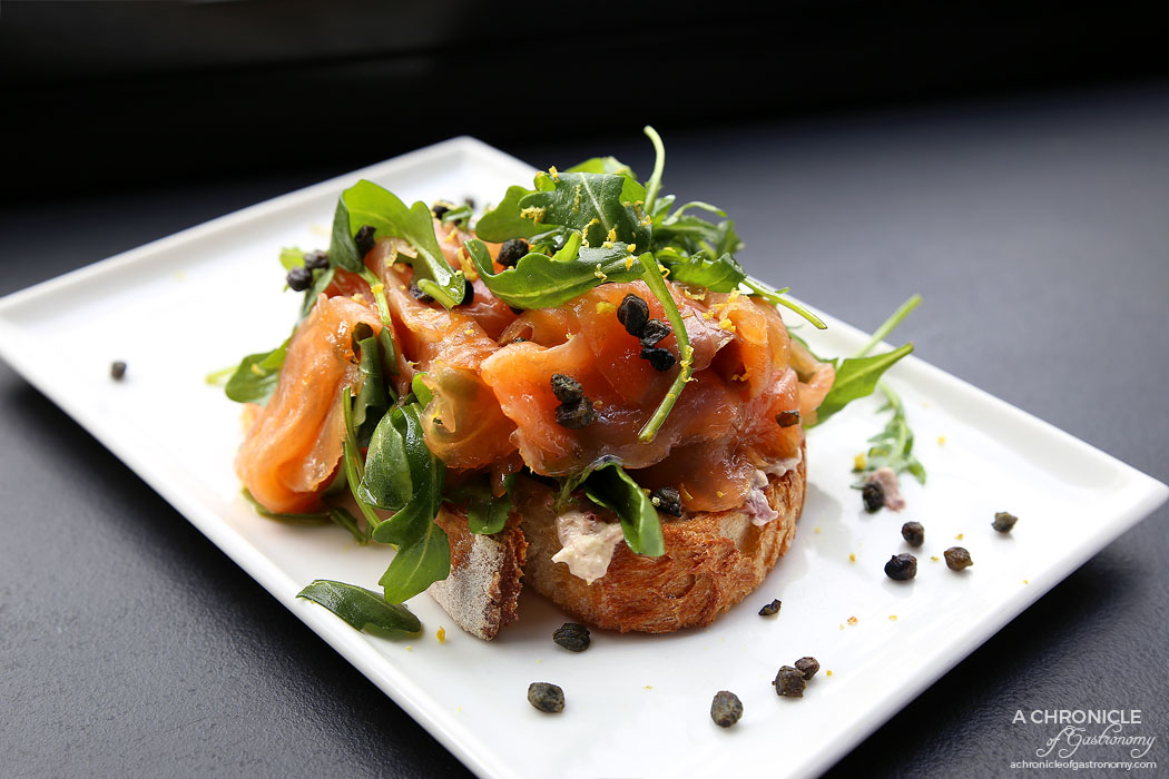 Kings and Knaves Espresso - Salmon - Smoked salmon, olive creme fraiche, rocket, fried capers, Mt Zero lemon oil ($12)