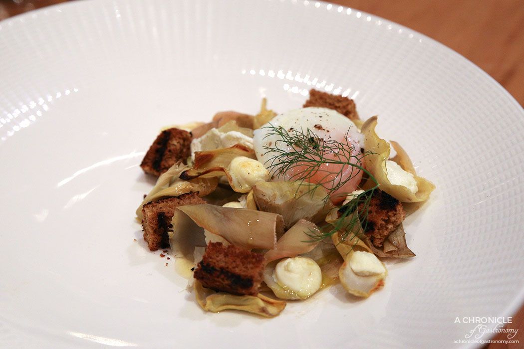 Lello - Warm Artichoke with 60-60 egg, goats cheese & liquorice brioche ($18.80)