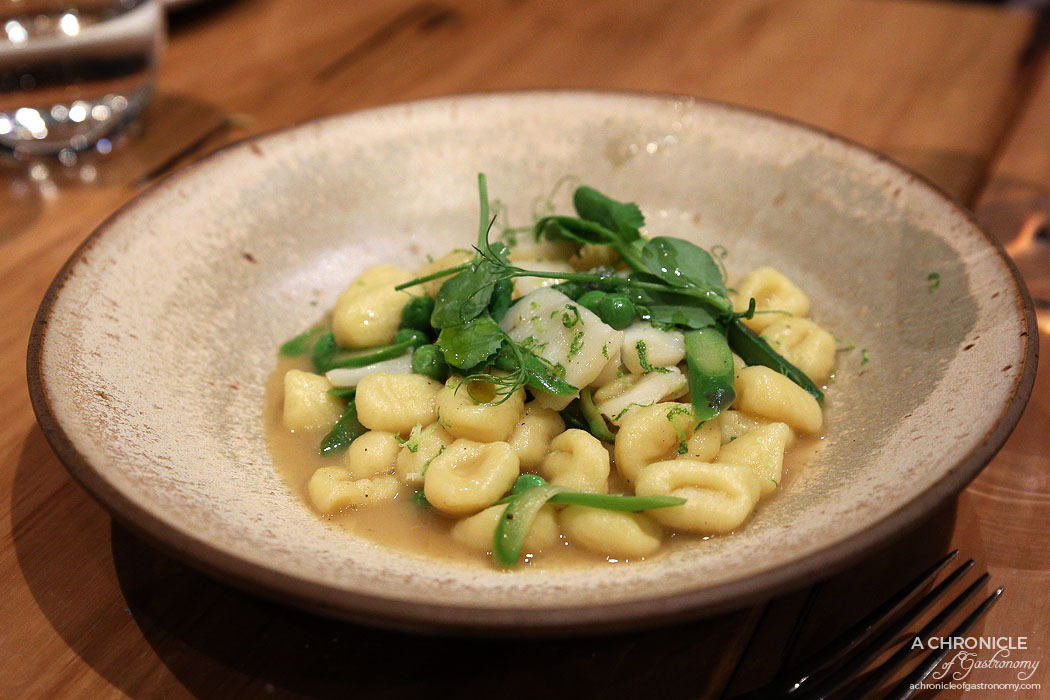 Lello - Handmade Potato Gnocchetti served with scallops, asparagus, peas & vermouth ($31.80)