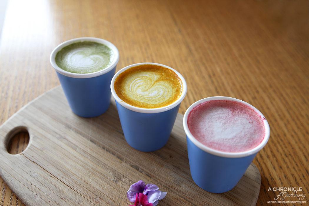 Mary Miller - Tasting platter of matcha green tea, turmeric and ginger, beetroot latte