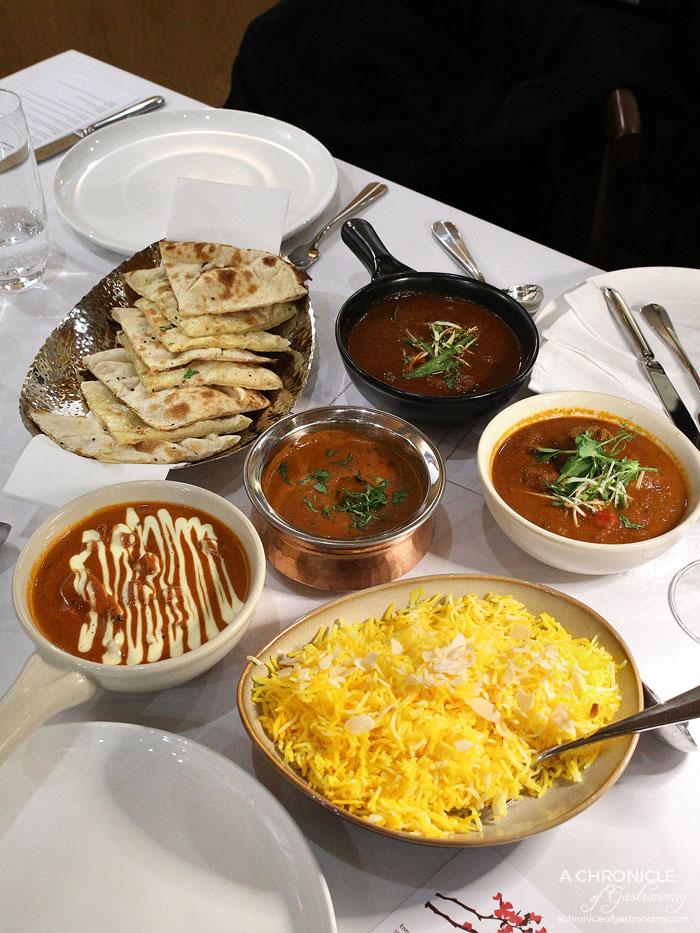 Atta - Murgh Makhani - Tandoori chicken, spices, tomato gravy Dal Bukhara - Black lentils, spices, coriander, butter and cream Lamb do Piazza - Diced lamb, tossed veggies, onion and tomato curry, Beef Mircha w mustard, chilli