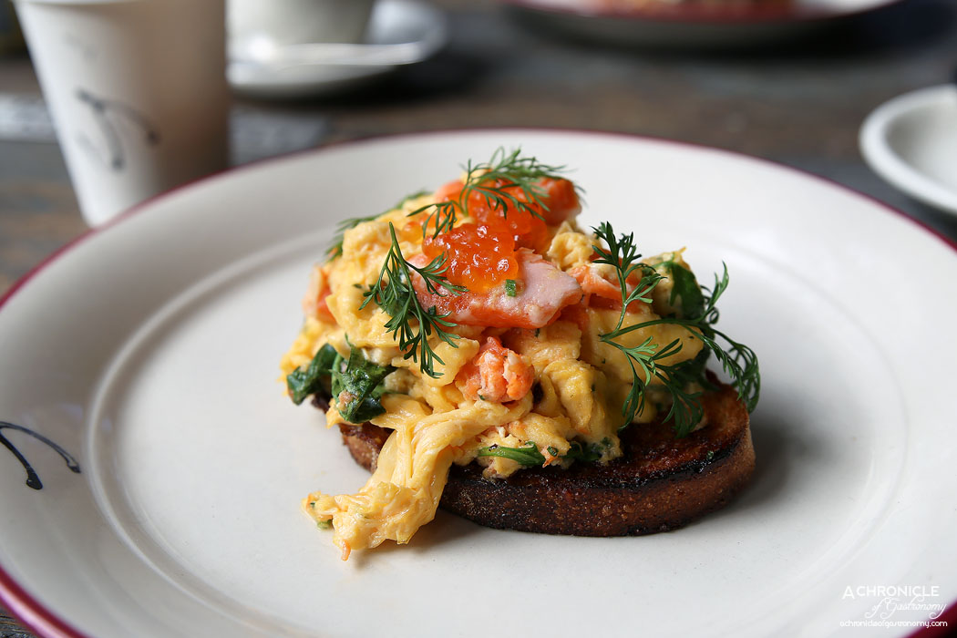 Pickett's Deli & Rotisserie - Scrambled eggs, king salmon, wild rocket & salmon caviar ($16)