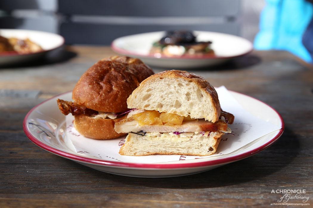 Pickett's Deli & Rotisserie - Crispy pork, pineapple chutney & coleslaw hot roll ($12)