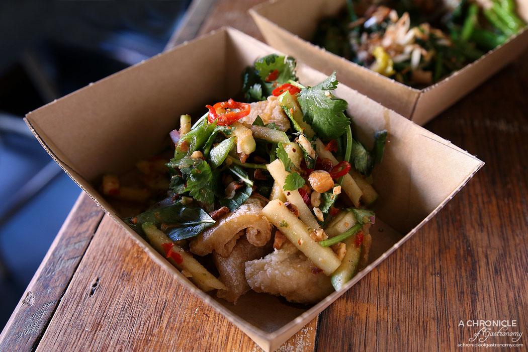 Rice Paper Scissors Fitzroy - Spring Yum Cha - Crispy Barramundi - Yam Pla Food - Tapioca dusted barramundi with a green apple and roast cashew salad and nahm jim dressing