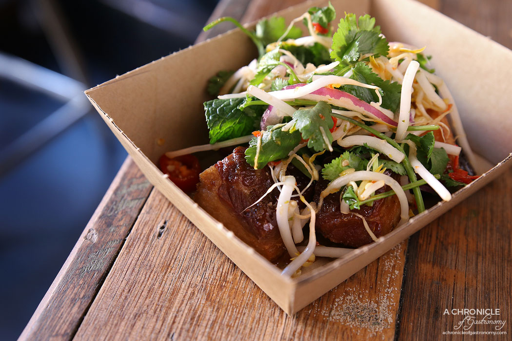 Rice Paper Scissors Fitzroy - Spring Yum Cha - Sticky Pork Belly - Muu Krob - Twice cooked pork in a tamarind caramel sauce, topped with a fragrant herb salad