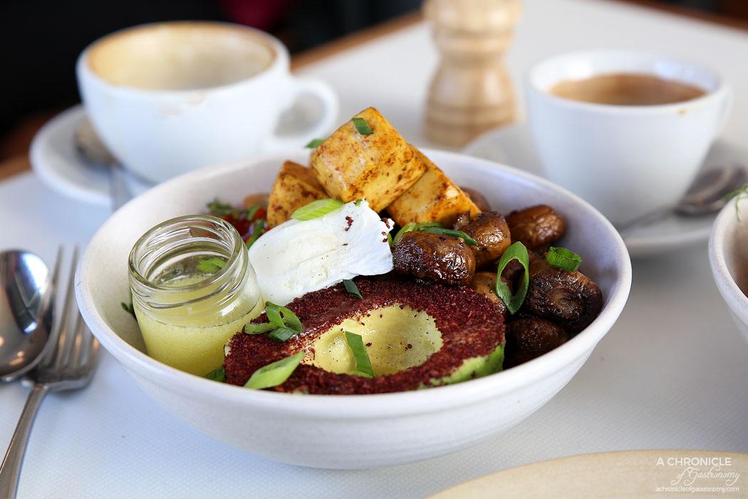Terror Twilight - Quinoa and freekeh bowl with heirloom tomato salad, avocado, poached eggs, roasted mushrooms and fried tofu ($15.50 + 5.50)