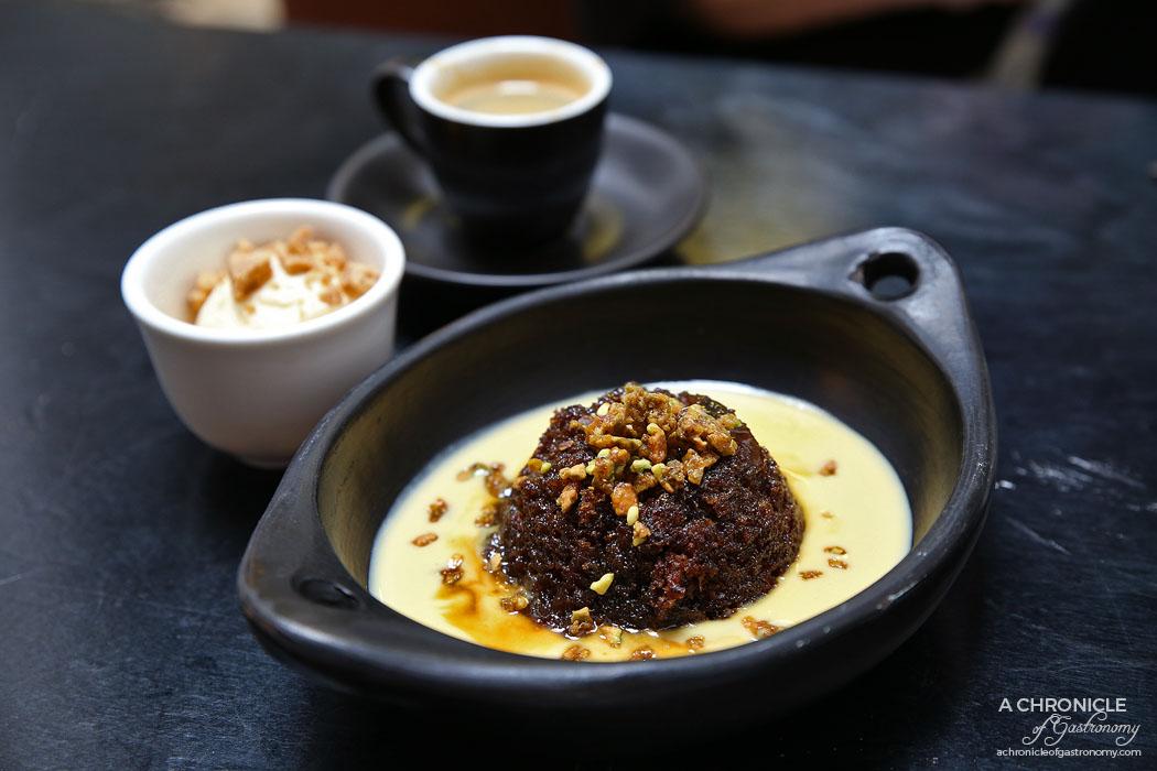 Fortify - Sticky date pudding Lyonnaise - Caramel drizzle, creme Anglaise, caramelised pistachios, vanilla ice cream, Scottish tablet ($11)
