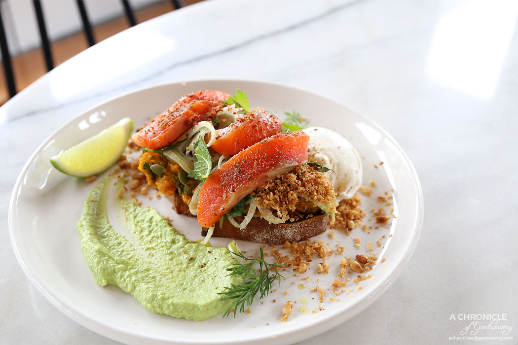 Heritage Wall - Cured Trout - Pumpkin and sweet potato mash, nuts, herbs, whipped avocado, mint, dill and fennel salad, grilled ciabatta, poached egg, pine nut crumb ($20.50)