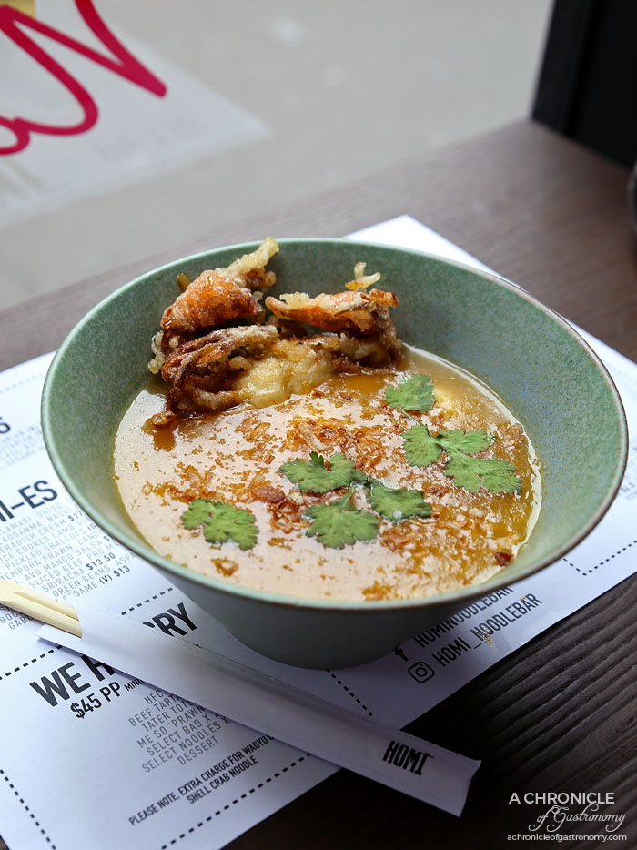 Homi Noodle Bar - Soft shell crab banh canh - Rice drop noodle, soft shell crab, quail egg, prawn, crab broth ($16.90)