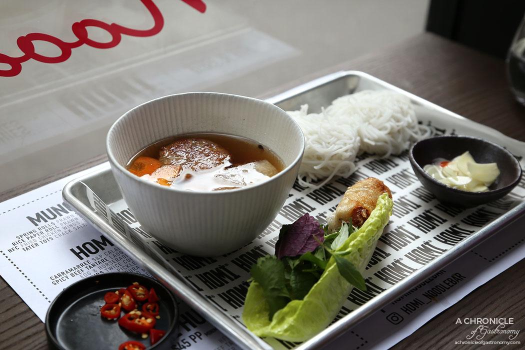 Homi Noodle Bar - Homi Bun Cha Hanoi - Vermicelli, Hanoi grilled pork, pork patty in warm fish sauce, herbs and nem ran (crab and pork spring roll) ($15.50)