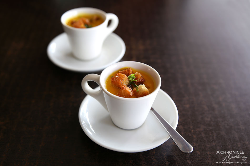 Lavender and Fare - Amuse bouche - Pumpkin soup w thyme roasted croutons