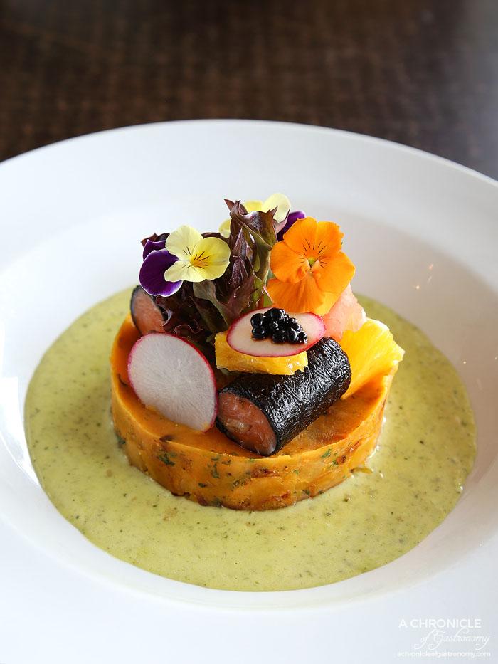 Lavender and Fare - Smoked salmon and pesto sauce - Nori rolled smoked salmon, sweet potato, creamy pesto sauce ($17.50)