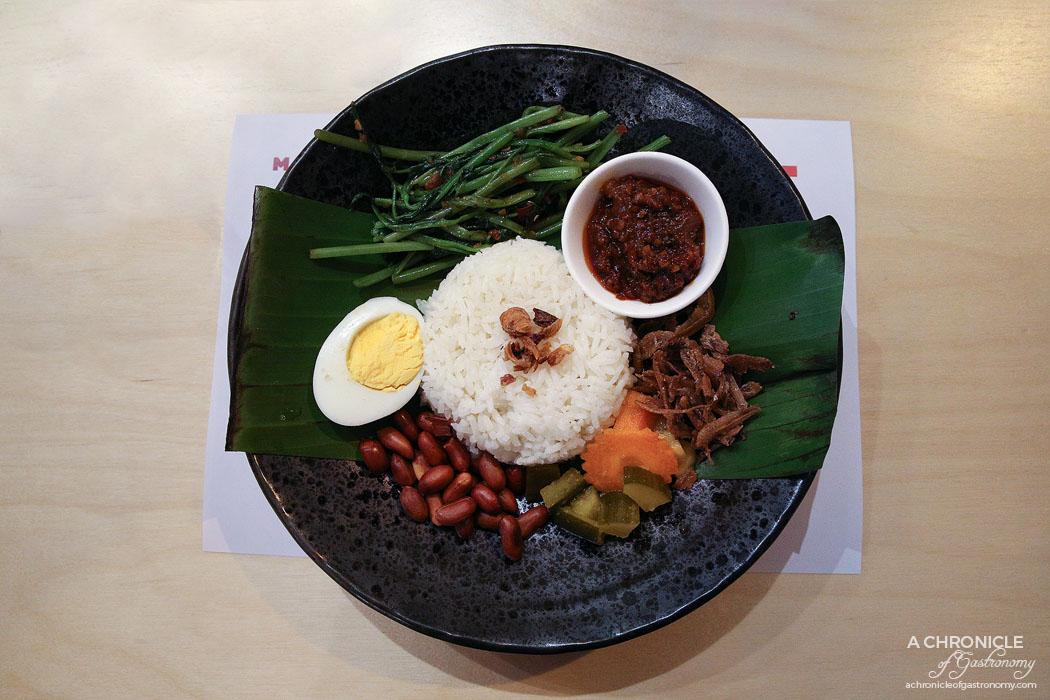 Merah - Nasi Lemak - Coconut rice, crispy anchovies, peanuts, achar, free range egg, traditional sambal ($15)