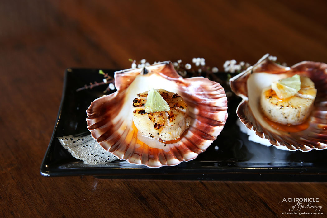 Nobori - Grilled scallops cooked in the shell with soy (2 for $11)