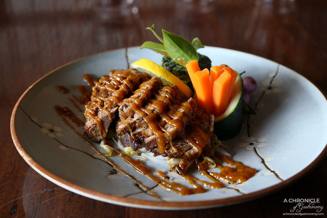 Nobori - Duckling Saikyouyaki - Duck breast marinated in special miso, grilled and topped w sweet miso sauce, served w seasoned vegetables ($28)